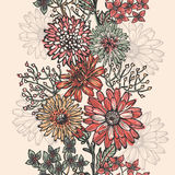 Vintage floral vertical seamless border Royalty Free Stock Images