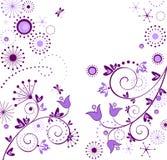 Vintage floral violet card Stock Photography