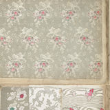 Vintage floral wallpaper. Background of vintage floral wallpaper with different patterns royalty free stock images