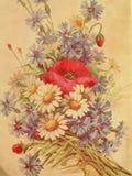 Vintage floral wallpaper. Painted floral vintage wall paper stock image