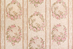 Vintage floral wallpaper. Vintage wallpaper with floral patterns and stripes stock photo