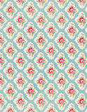 Vintage floral wallpaper rose repeat pattern. In blue and red Stock Photos