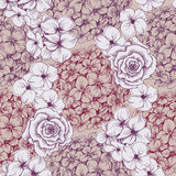 Vintage floral wallpaper. Seamless pattern with hydrangea and ro Stock Photography