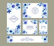 Vintage floral watercolor greeting card collections Royalty Free Stock Photos