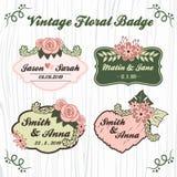 Vintage floral wedding badge vector illustration