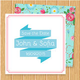 Vintage floral wedding invitation square shape Royalty Free Stock Photography