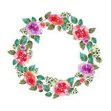 Vintage floral wreath wedding frame with rose flowers and leaf. Greeting card. Hand-drawn watercolor elements.Decoration Stock Images