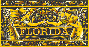 Vintage Florida Label Plaque, Black and Gold Stock Photos