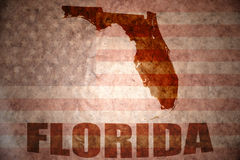 Vintage florida map. Florida map on a vintage american flag background stock photography