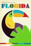 Vintage Florida Travel Poster Grunge Parrot. Color retro geometric 1950s 1960s Miami Discover stock illustration