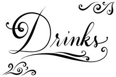 Handlettered text drink for menu card in restaurants Royalty Free Stock Images