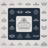 Vintage flourishes elements. Calligraphic ornaments set. Luxury logos monogram. Vintage royal flourishes elements. Calligraphic symbol ornament. Letters. Design royalty free illustration