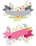 Vintage flower banner with ribbon Royalty Free Stock Photography