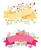 Vintage flower banner with ribbon Stock Images