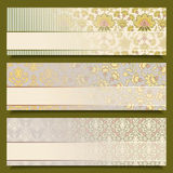 Vintage flower banners retro pattern design set Royalty Free Stock Images