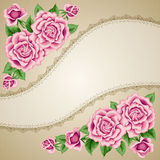 Vintage flower card with roses Stock Photo