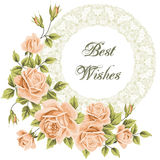 Vintage flower card with roses Stock Photos