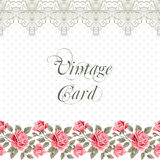 Vintage flower card with roses Royalty Free Stock Photo