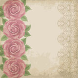 Vintage flower card with roses Stock Photography