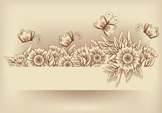 Vintage flower card, vector Royalty Free Stock Photo