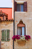 Vintage flower decorated building in Venice. Royalty Free Stock Photos