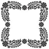 Black and white Vintage flower frame ornament template vector Stock Photos