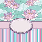 Vintage  flower frame with lotus Royalty Free Stock Image