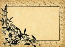 Vintage flower frame on old paper Royalty Free Stock Photo