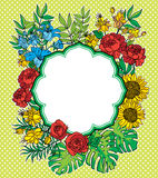 Vintage  flower frame with text place. Royalty Free Stock Image