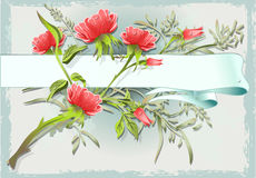 Vintage Flower Ornament with Banner Stock Photos