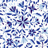 Vintage flower pattern in indigo blue color Royalty Free Stock Photo