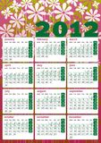 Vintage flower power 2012 calendar in english Royalty Free Stock Image