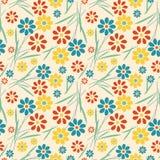 Vintage flower seamless pattern on blue background stock illustration