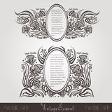 Vintage flower vintage banners with oval frame for text Stock Photos