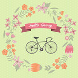 The vintage flower wreath with bicycle Stock Images