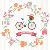 The vintage flower wreath with bicycle Stock Photography