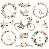 Vintage Flower Wreath Bicycles. A vector illustration of Vintage Flower Wreath Bicycles. Perfect for Weeding, valentine`s, Mother`s day and many more Royalty Free Stock Image