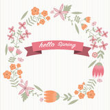 Vintage flower wreath and hello spring word Stock Photo