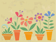 Vintage flowers. Vintage background with flowers in pots Royalty Free Stock Photography