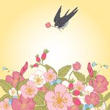 Vintage flowers background with bird Stock Photos