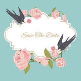 Vintage flowers background with birds Stock Photos