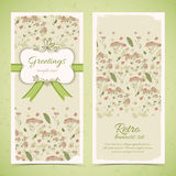 Vintage flowers banners set with text field Royalty Free Stock Photography