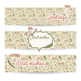 Vintage flowers banners set Royalty Free Stock Photos