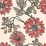 Vintage flowers and berries seamless pattern Royalty Free Stock Photography