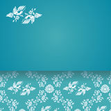 Vintage flowers and bird wallpaper blue horizontal card Royalty Free Stock Image