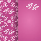 Vintage flowers and bird wallpaper pink vertical card Stock Photo
