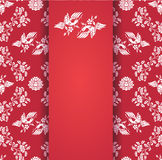 Vintage flowers and bird wallpaper red central card Royalty Free Stock Photos