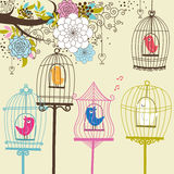 Vintage Flowers and Birdcage Royalty Free Stock Photos