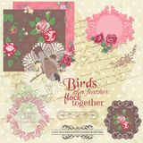 Vintage Flowers and Birds Royalty Free Stock Photos