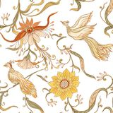 Vintage flowers and birds seamless pattern, background. stock illustration